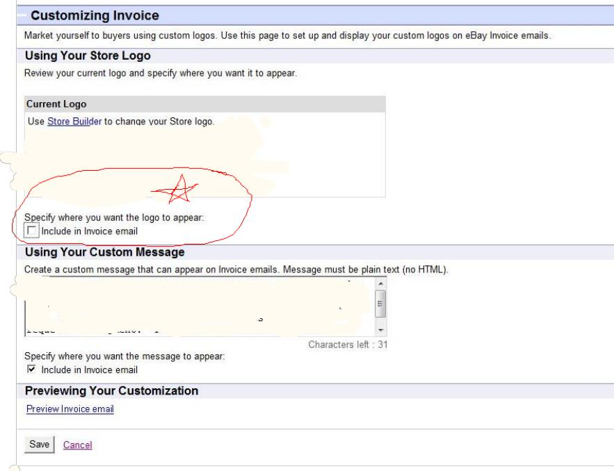 how to add logo to invoices on ebay